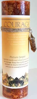 Courage pillar candle with Picture Jasper pendant