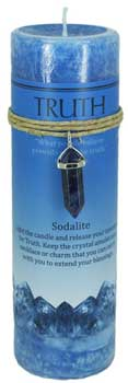 Truth pillar candle with Sodalite pendant