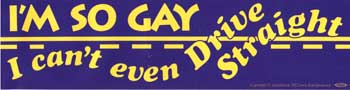 I'm So Gay I Can't Even Drive Straight bumper sticker