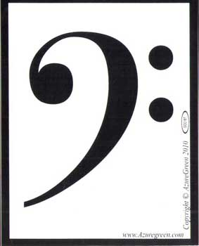 "Bass Clef bumper sticker 3 3/4"" x 3"""