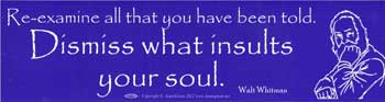 Re=Examine All that you Have Been Told. Dismiss What insults Your Soul bumper sticker