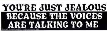 You're Just Jealous because the Voices are talking to me bumper sticker