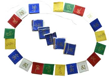 "2 3/4"" Tibetan prayer flag (6/pack) (26 flag on a string hand written)"