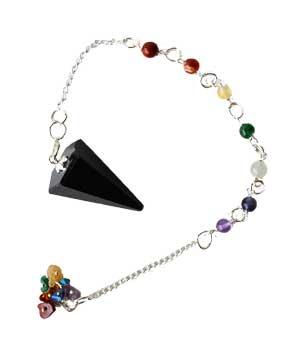 Tourmaline, Black 7 Chakra 6 sided pendulum