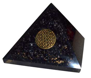 70mm Orgone Tourmaline & Flower pyramid