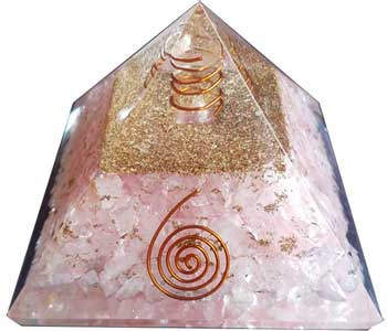 70mm Orgone Rose Quartz & Spiral pyramid