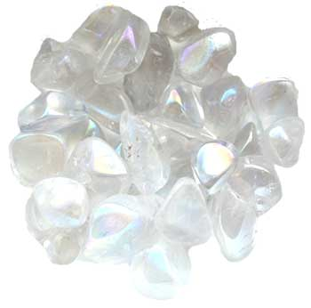 1 lb Transparent White electroplated tumbled stones