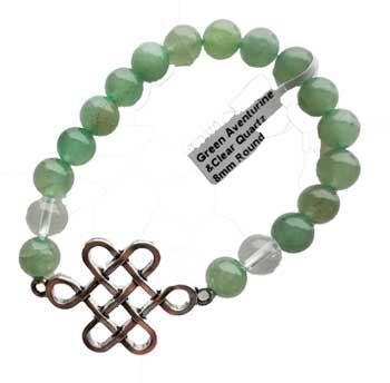 8mm Green Aventurine & Clear Quartz/ Celtic