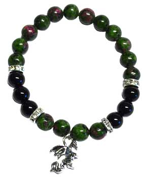 8mm Ruby Zoisite/ Black Onyx with Dragon