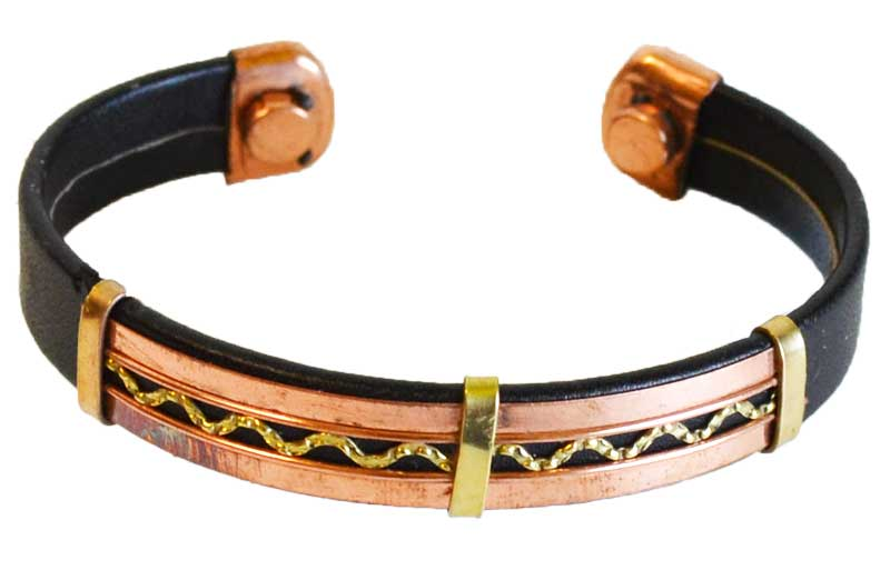 Copper & Leather Magnetic bracelet