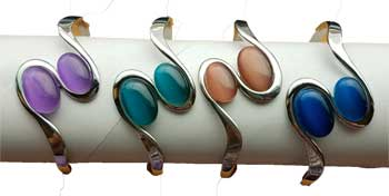 magnetic Cat's Eye Rhodiom 2 oval bracelet various stones