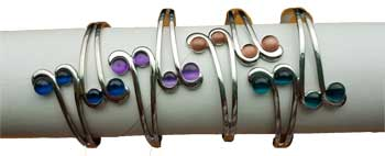 magnetic Cat's Eye Rhodiom 4 round bracelet various stones