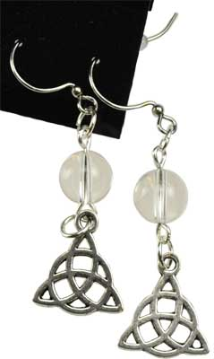 Quartz Triquetra earrings
