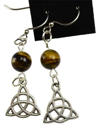 Tiger's Eye Triquetra earrings