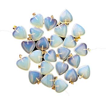 "3/4"" (20mm) Opalite heart (pack of 24)"