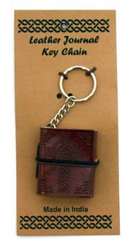 Celtic Cross leather journal key chain