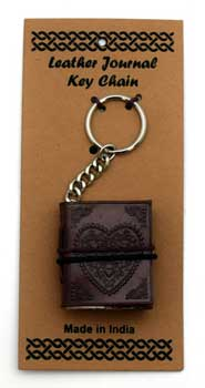 Heart leather journal key chain