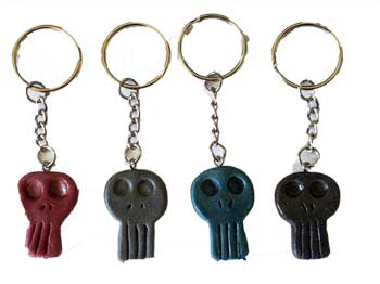 "1 1/4"" resin Skull key ring (assorted colors)"
