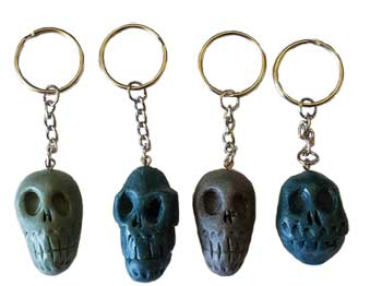 "1 1/2"" resin Skull key ring (assorted colors)"