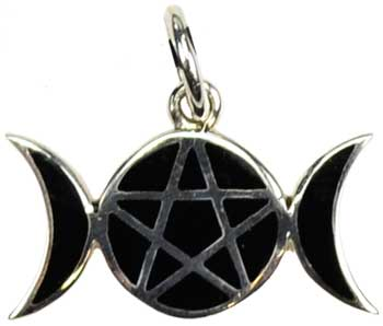 Pentagram Moons sterling silver