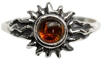 Amber Sun ring Size 8
