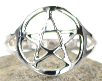 Silver Plated brass Pentagram ring size 8