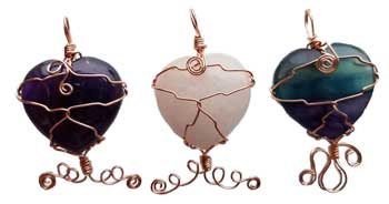 Heart Wire Wrapped (various stones)