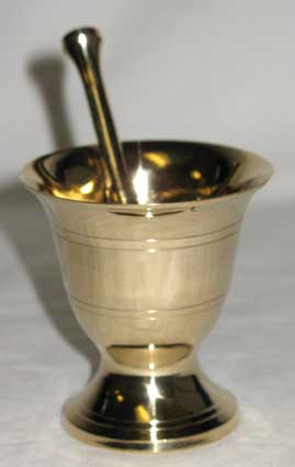 "2 3/4"" Brass mortar & pestle set"