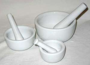 Set of 3 White Ceramic Mortars and Pestles