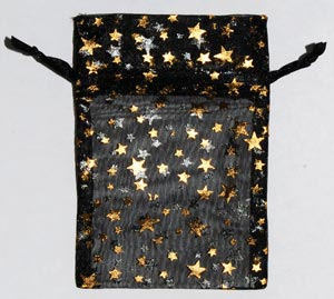 "2 3/4"" x 3"" Black organza pouch with Gold Stars"