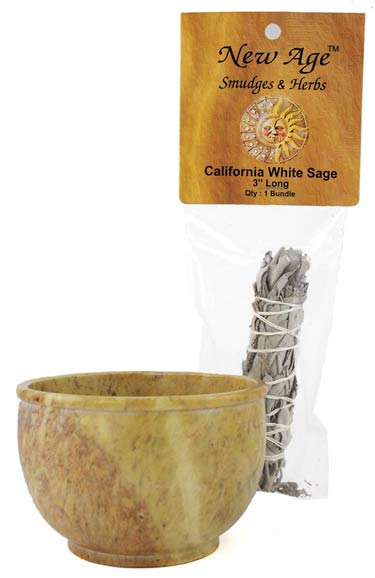 "Smudge Pot with 3"" White Sage Wand"