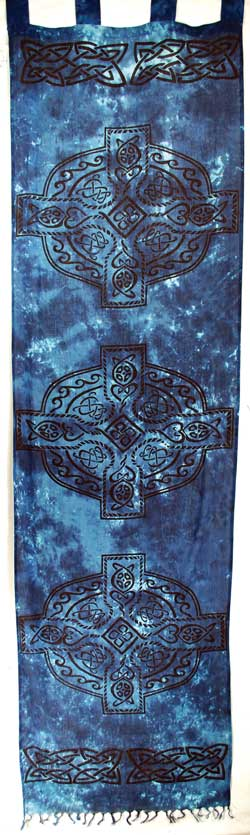"Blue Celtic Cross curtain pair 22"" x 72"""