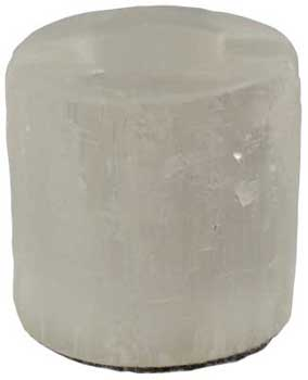 White Round Selenite tealight candle holder