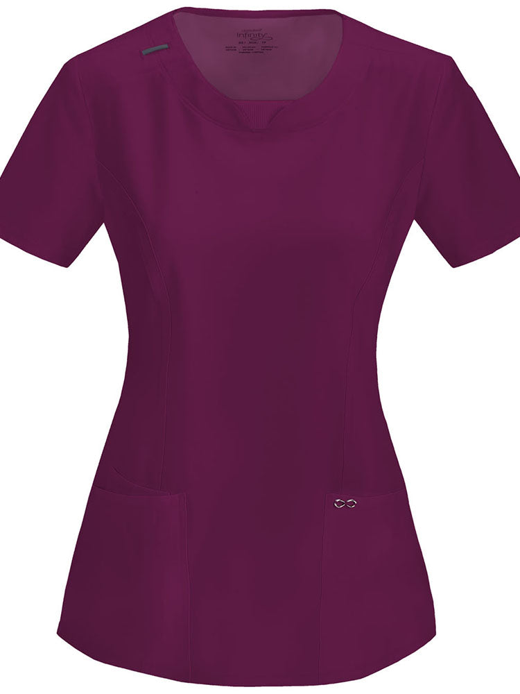 Cherokee Infinity Women's Round Neck Scrub Top | Wine