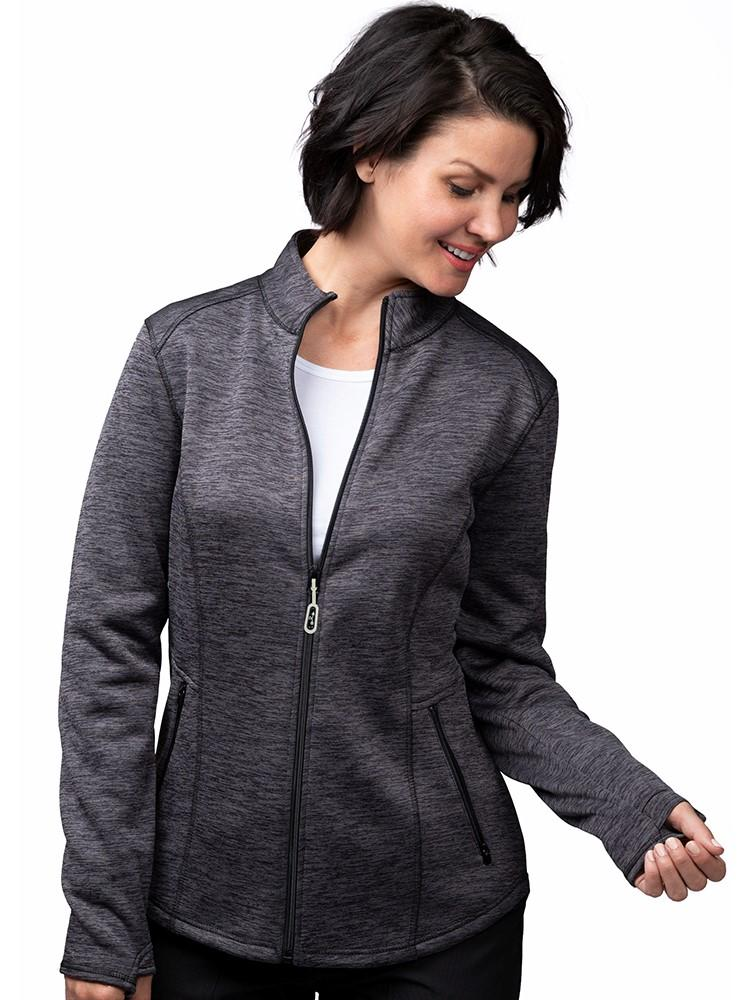 Ava Therese Women's Bonded Fleece Jacket | Heather Grey - Scrub Pro Uniforms