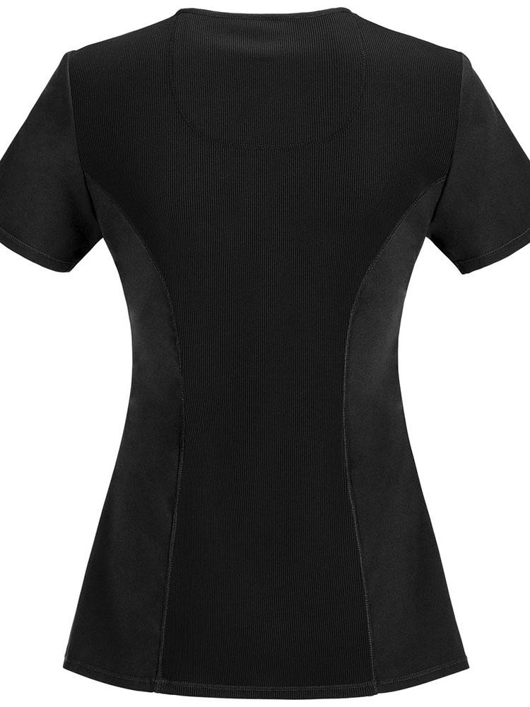 Cherokee Infinity Women's Antimicrobial Mock Wrap Top | Black - Scrub Pro Uniforms