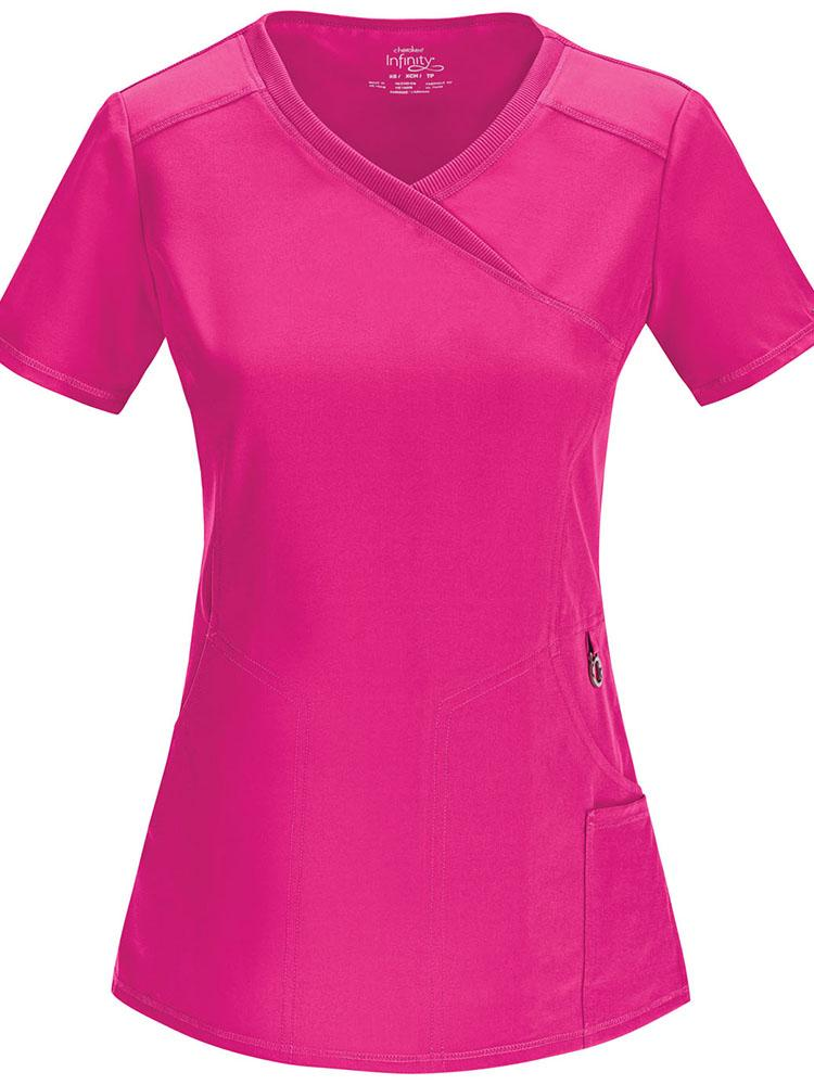 Cherokee Infinity Women's Antimicrobial Mock Wrap Top | Carmine Pink - Scrub Pro Uniforms