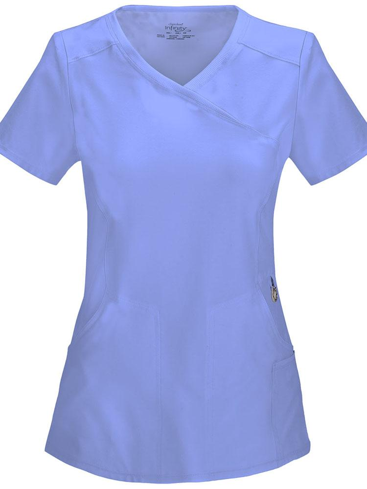 Cherokee Infinity Women's Antimicrobial Mock Wrap Top | Ciel - Scrub Pro Uniforms