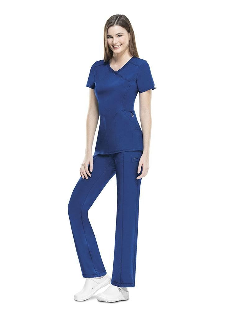 Cherokee Infinity Women's Antimicrobial Mock Wrap Top | Galaxy Blue - Scrub Pro Uniforms