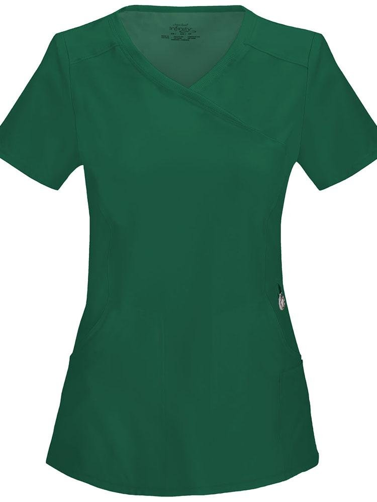 Cherokee Infinity Women's Antimicrobial Mock Wrap Top | Hunter - Scrub Pro Uniforms