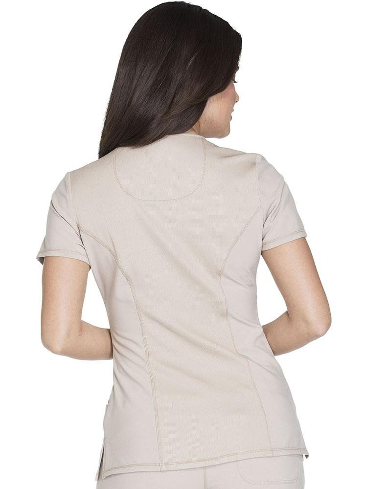 Cherokee Infinity Women's Antimicrobial Mock Wrap Top | Khaki - Scrub Pro Uniforms