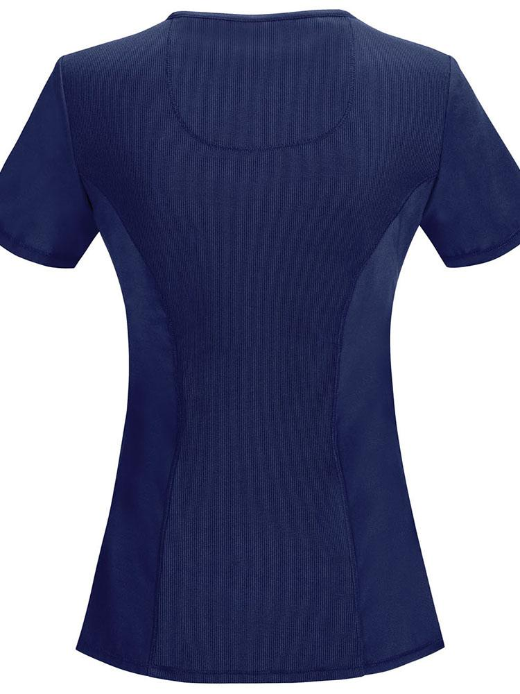 Cherokee Infinity Women's Antimicrobial Mock Wrap Top | Navy - Scrub Pro Uniforms