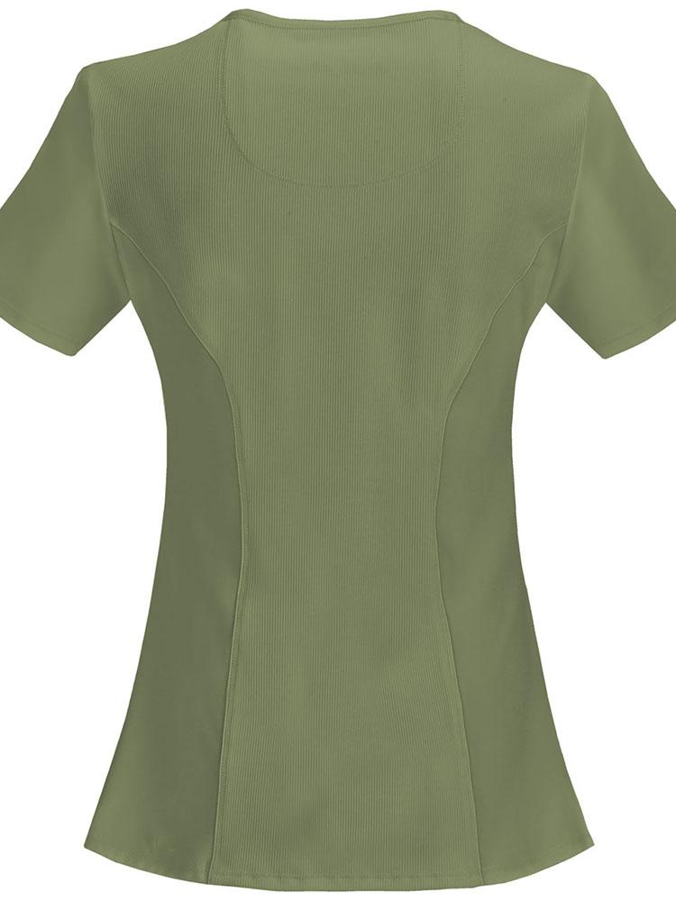 Cherokee Infinity Women's Antimicrobial Mock Wrap Top | Olive - Scrub Pro Uniforms