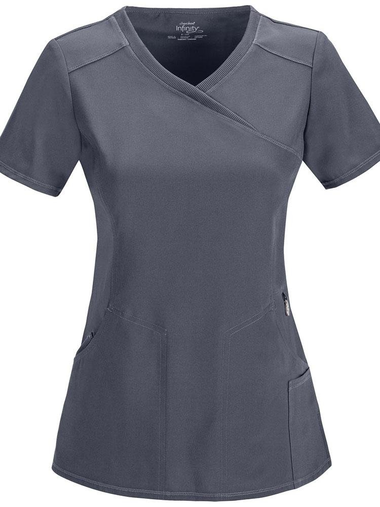 Cherokee Infinity Women's Antimicrobial Mock Wrap Top | Pewter - Scrub Pro Uniforms