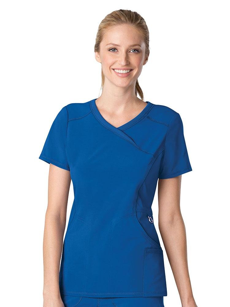 Cherokee Infinity Women's Antimicrobial Mock Wrap Top | Royal - Scrub Pro Uniforms