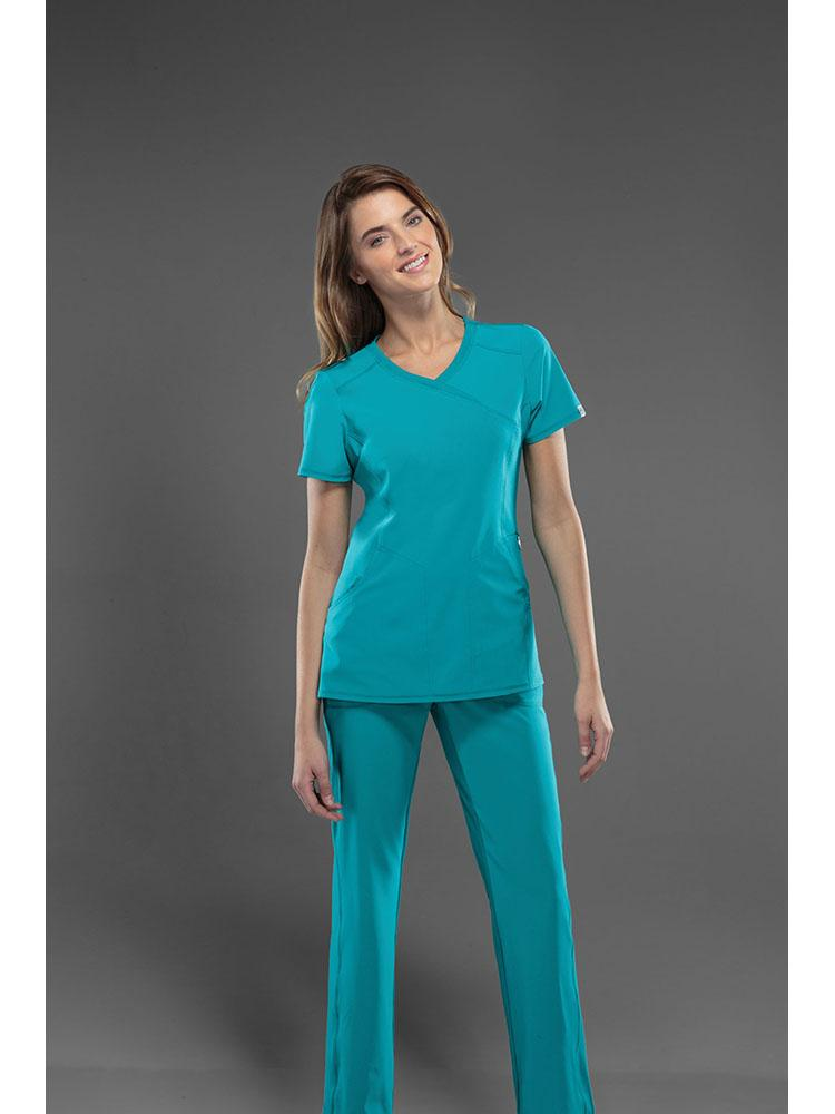 Cherokee Infinity Women's Antimicrobial Mock Wrap Top | Teal - Scrub Pro Uniforms