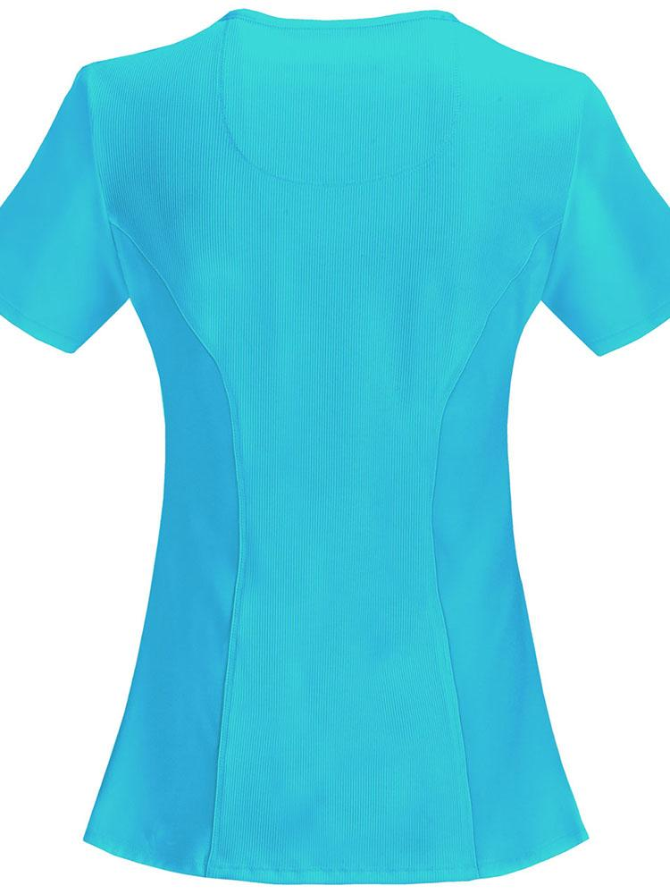 Cherokee Infinity Women's Antimicrobial Mock Wrap Top | Turquoise - Scrub Pro Uniforms