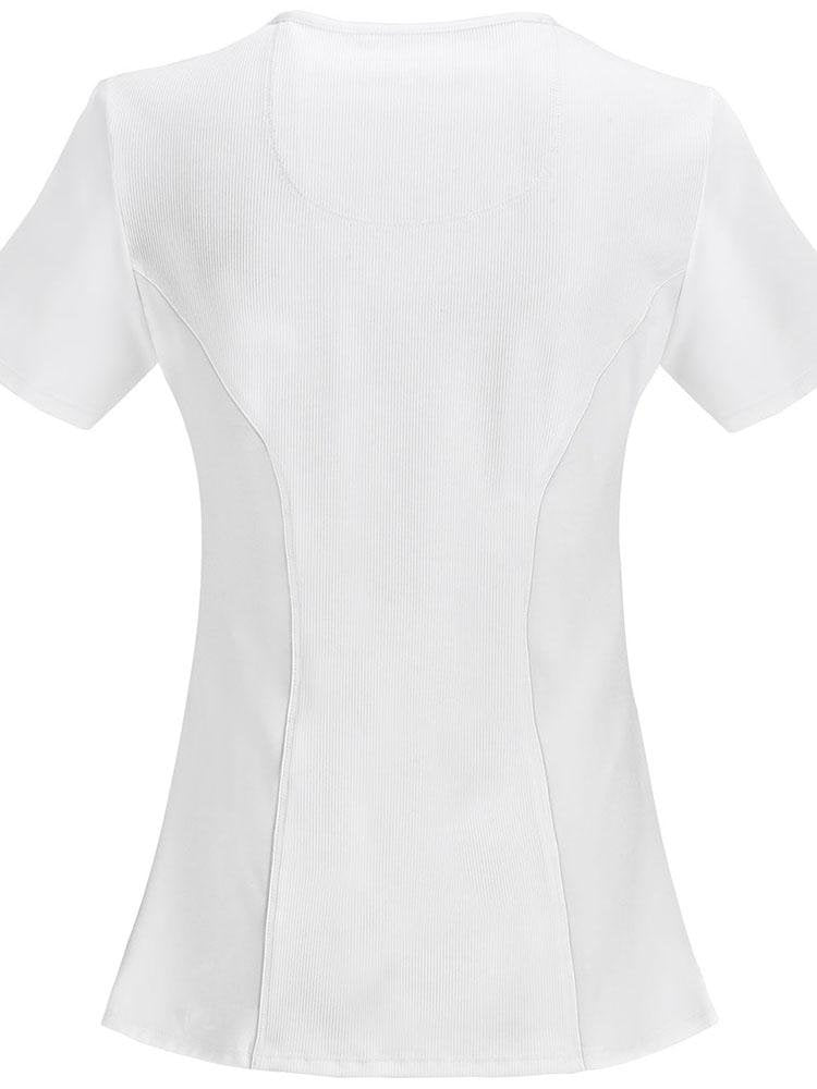 Cherokee Infinity Women's Antimicrobial Mock Wrap Top | White - Scrub Pro Uniforms
