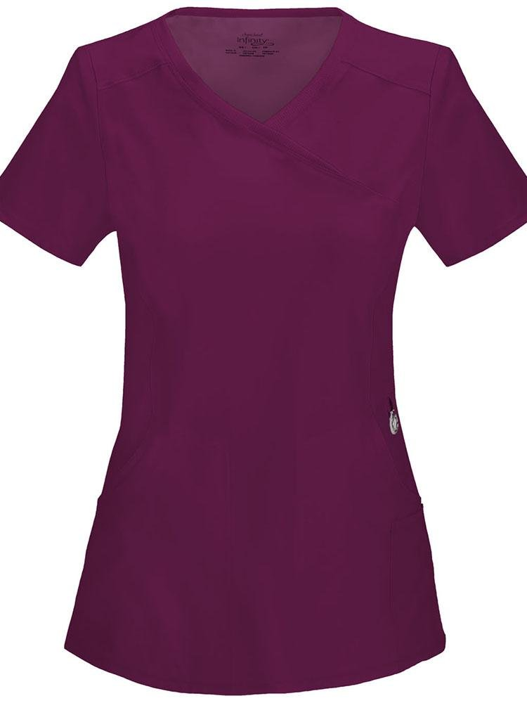Cherokee Infinity Women's Antimicrobial Mock Wrap Top | Wine - Scrub Pro Uniforms