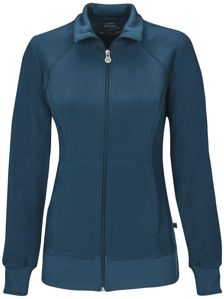 Cherokee Infinity Women's Antimicrobial Warm Up Jacket | Caribbean - Scrub Pro Uniforms